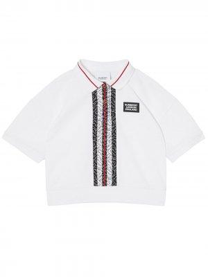 Рубашка поло с монограммой Burberry Kids. Цвет: белый