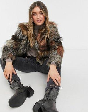 Светло-коричневое пальто из искусственного меха patch my drift -Коричневый цвет BB Dakota
