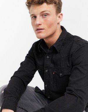 Выбеленная джинсовая рубашка цвета черного мрамора в ковбойском стиле Levis Barstow-Черный цвет Levi's