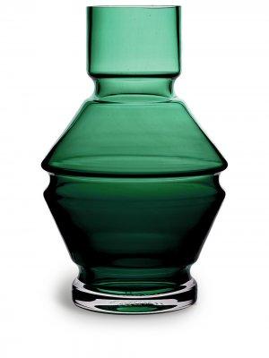 Стеклянная ваза Relæ (18 см) Raawi. Цвет: зеленый
