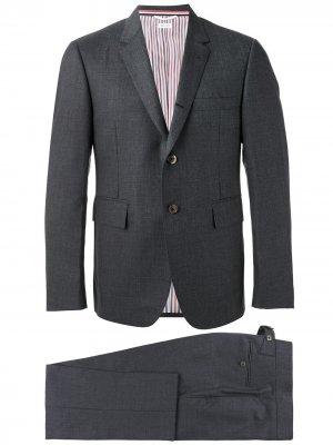 Твиловый костюм-двойка Super 120s с галстуком Thom Browne. Цвет: серый