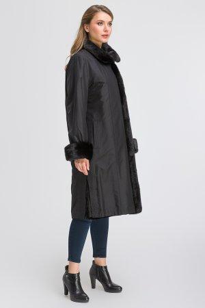 Пальто на меху из Швеции для большого размера SkinnWille. Цвет: черный