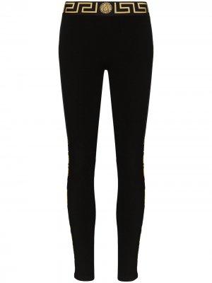 Легинсы с орнаментом Grecca Versace. Цвет: черный