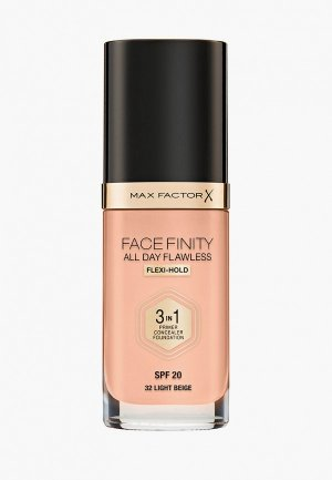 Тональная основа Max Factor Facefinity All Day Flawless 3-in-1, тон 32 light beige. Цвет: бежевый