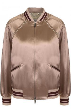 Бомбер на молнии с контрастными манжетами Valentino. Цвет: светло-розовый