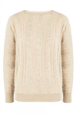 Бежевый пуловер с пайетками Fabiana Filippi. Цвет: бежевый