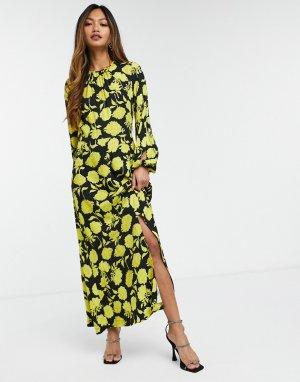 Платье мидакси с крупным контрастным цветочным принтом цвета охры -Многоцветный Closet London