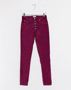 Фиолетовые бархатные джинсы с завышенной талией и пуговицами -Фиолетовый Alice & Olivia