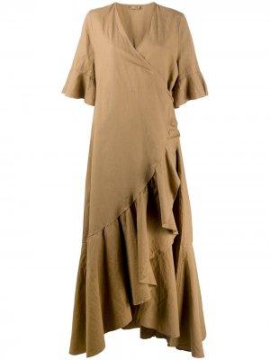 Длинное платье с запахом и оборками Closed. Цвет: нейтральные цвета