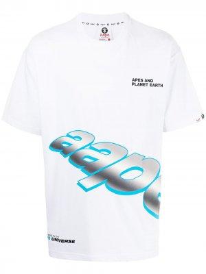 Футболка с логотипом AAPE BY *A BATHING APE®. Цвет: белый