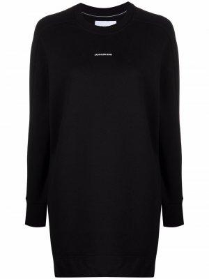 Платье-свитер с логотипом Calvin Klein Jeans. Цвет: черный