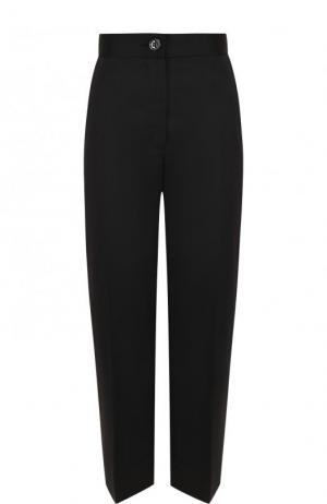 Укороченные однотонные брюки с карманами и стрелками Mm6. Цвет: чёрный