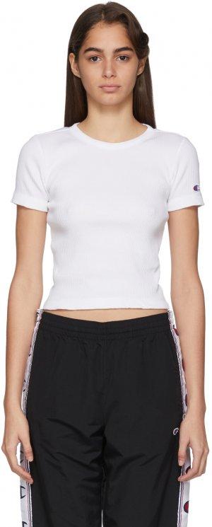 White Ribbed Logo T-Shirt Champion Reverse Weave. Цвет: wht white