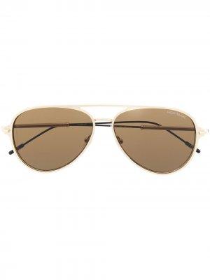 Солнцезащитные очки-авиаторы Montblanc. Цвет: золотистый