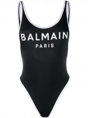 Купальник с логотипом Balmain. Цвет: черный