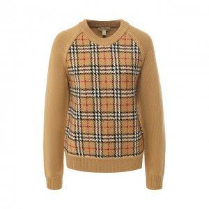 Пуловер из шерсти Burberry. Цвет: бежевый