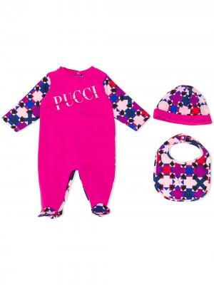 Комбинезон с графичным принтом и длинными рукавами Emilio Pucci Junior. Цвет: розовый
