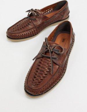 Светло-коричневые кожаные плетеные мокасины -Коричневый ASOS DESIGN