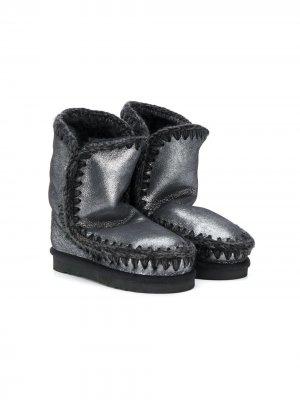 Ботинки с эффектом металлик Mou Kids. Цвет: серый