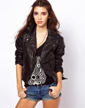 Кожаная байкерская куртка ASOS. Цвет: черный