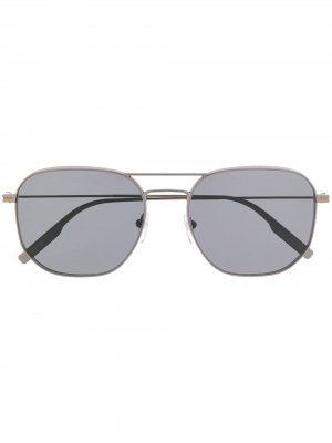 Солнцезащитные очки в квадратной оправе Ermenegildo Zegna. Цвет: золотистый