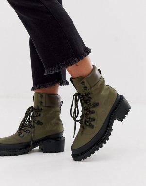 Походные ботинки хаки ASOS DESIGN