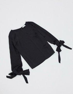 Черная блузка с завязками на манжетах -Черный Elvi
