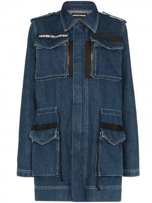 Джинсовая куртка в стиле милитари с карманами House of Holland. Цвет: синий