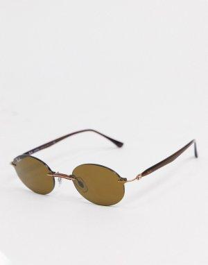 Узкие овальные солнцезащитные очки коричневого цвета без оправы Rayban-Коричневый Ray-Ban