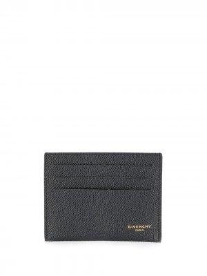 Картхолдер из зернистой кожи Givenchy. Цвет: черный