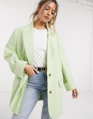 Лаймовый жакет oversized с контрастной строчкой -Зеленый ASOS DESIGN