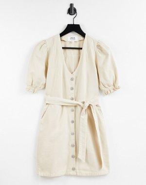 Джинсовое платье цвета слоновой кости с объемными рукавами -Белый Miss Selfridge
