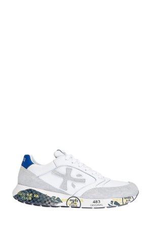 Легкие кожаные кроссовки ZacZac с алой и синей отделкой PREMIATA. Цвет: мульти