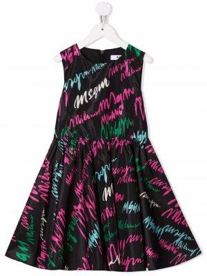 Signature logo-print midi dress MSGM Kids. Цвет: черный