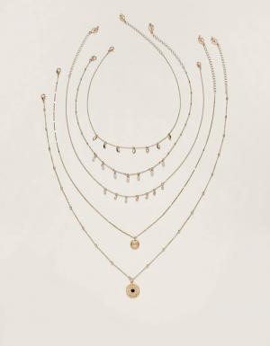 Набор из 5 тонких ожерелий ЖЕНСКАЯ КОЛЛЕКЦИЯ Желтый 103 Stradivarius