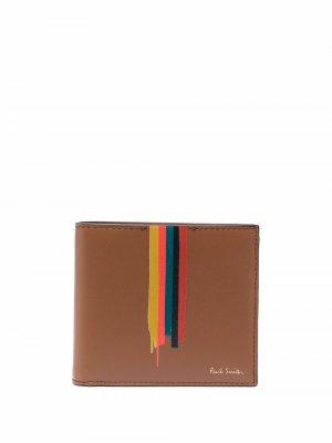 Painted-stripe print leather wallet PAUL SMITH. Цвет: коричневый