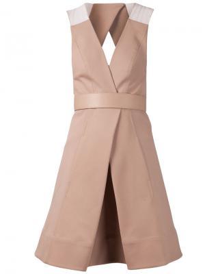 Платье со встречными складками Kaufmanfranco. Цвет: коричневый