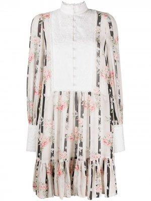 Платье-трапеция с английской вышивкой byTiMo. Цвет: нейтральные цвета