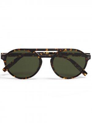 Солнцезащитные очки-авиаторы Leggerissimo Ermenegildo Zegna. Цвет: коричневый