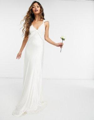Атласное свадебное платье макси цвета слоновой кости London-Белый Ghost