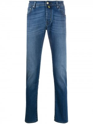 Зауженные джинсы с эффектом потертости Jacob Cohen. Цвет: синий