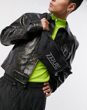 Черная сумка-кошелек на пояс с заклепками -Черный цвет ASOS DESIGN
