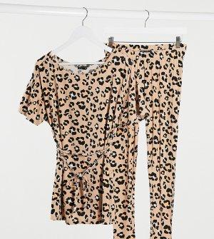 Пижама из футболки и леггинсов с леопардовым принтом ASOS DESIGN Maternity-Коричневый Maternity