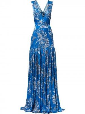Плиссированное платье Belaya с цветочным принтом Alexis. Цвет: синий