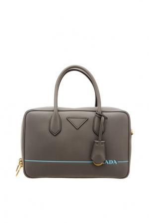 Серая сумка с логотипом Prada. Цвет: серый