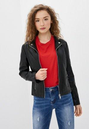 Куртка кожаная B.Style. Цвет: черный