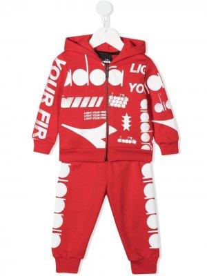 Спортивный костюм с логотипом Diadora Junior. Цвет: красный