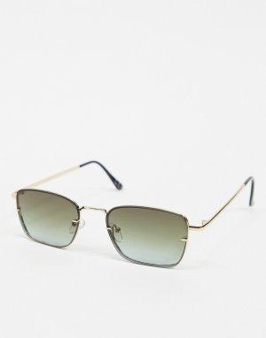 Квадратные солнцезащитные очки без оправы с линзами градуированным затемнением -Золотистый ASOS DESIGN