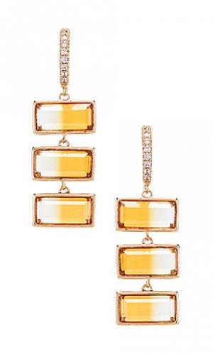 Свисающие серьги Elizabeth Stone. Цвет: металлический золотой