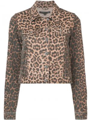 Джинсовая куртка с леопардовым принтом Veronica Beard. Цвет: черный